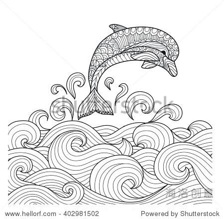 海浪简笔画素材