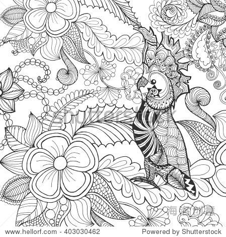 可爱的鹦鹉着色页面.动物.手绘涂鸦.民族图案的插图.