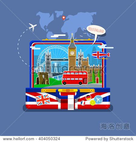 英国国旗的地标打开手提