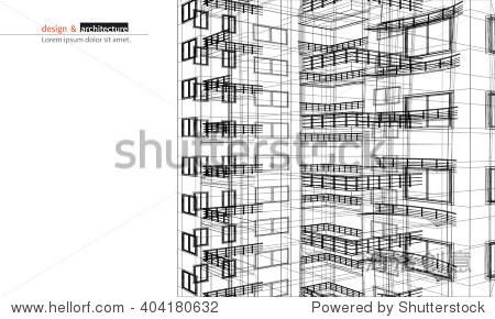 抽象的3 d渲染建筑线框结构.向量构造图形模板设计的想法.