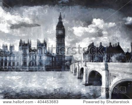 大本钟,伦敦水彩插图.英国.-建筑物/地标,艺术-海洛