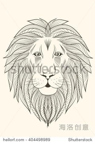 狮子座铅笔素描.-动物/野生生物,艺术-海洛创意正版