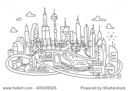 手画线,未来城市建筑图片