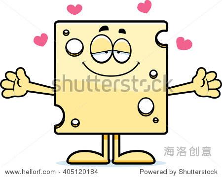 一块瑞士奶酪的卡通插图准备给一个拥抱.图片