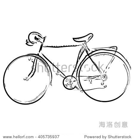手画简单的素描自行车向量插图.可以使用的标志.