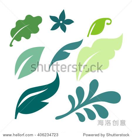 set of vector green leaves design elements.图片