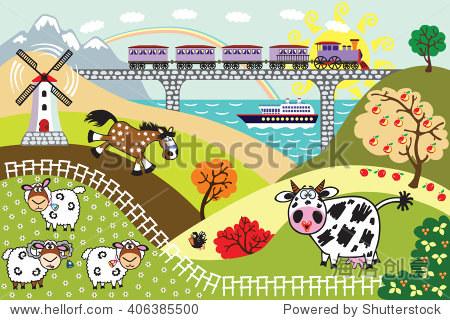 卡通农场动物在牧场领域,火车桥和游轮航行.儿童插图向量