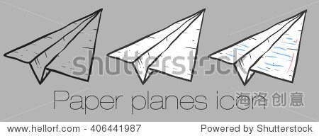 在矢量手绘草图.纸飞机图标集纸飞机孤立的矢量图标集