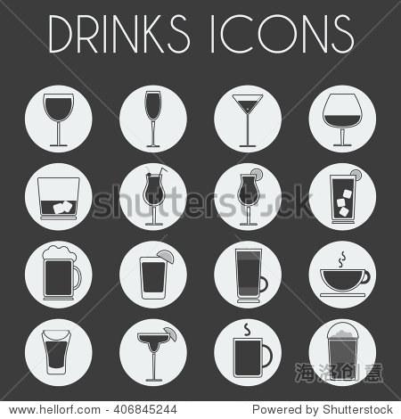 酒精和非酒精饮料菜单栏图标图片