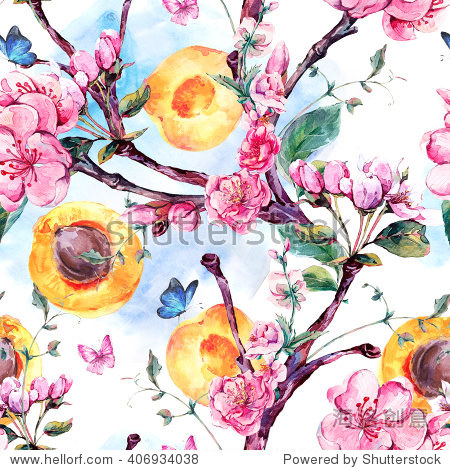 Natural spring watercolor seamless pattern with fruits and flowers apricot tree branches, isolated decorative botanical illustration with flowers, and butterflies