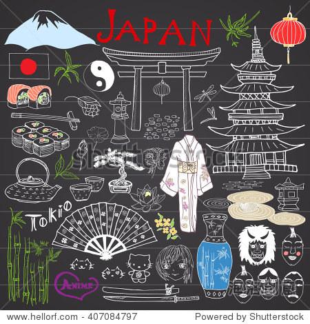 日本的涂鸦元素.手绘草图与富士山山,神道门,日本食品