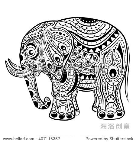 手绘墨水zentangle大象放松和冥想.矢量模式黑白插图.
