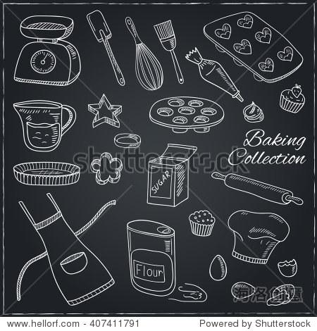 的烘焙工具集.手绘的收藏.矢量插图设计菜单,菜谱和包