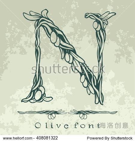 绑定开花树枝橄榄树——花字母——矢量字体说明