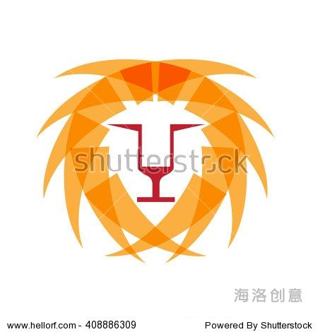 向量抽象孤立的狮子,几何形状 - 动物/野生生物,符号