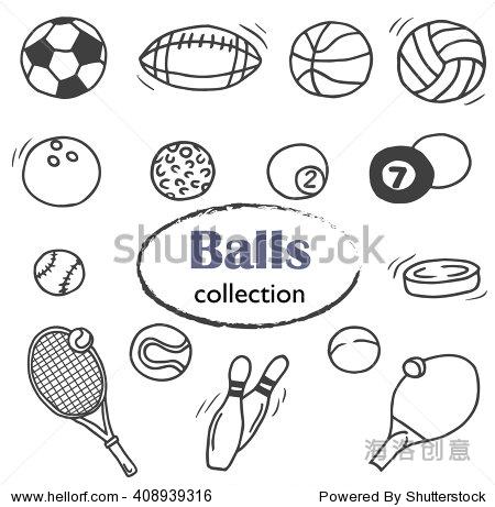 手绘涂鸦的图标的设置不同的球:足球球,篮球球,高尔夫