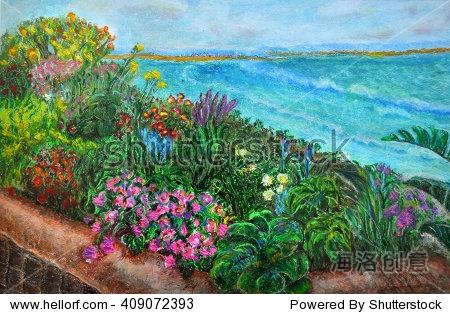 原始纹理厚涂的颜料油蜡笔画的热带风景:花园充满了各种不同的花有不