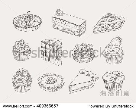 古董面包店手绘插图向量集.甜糕点,馅饼,馅饼,蛋糕外形图
