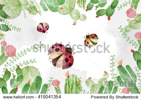 创意创新的艺术插图:昆虫瓢虫,花和叶子——水彩风格.图片