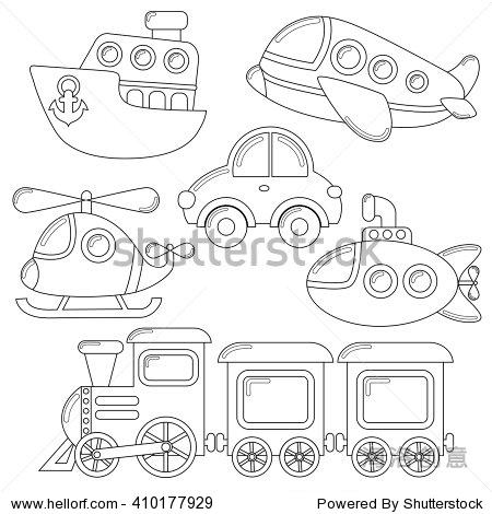 汽车,潜艇,船舶,飞机,火车,直升机.黑白彩色书的插图