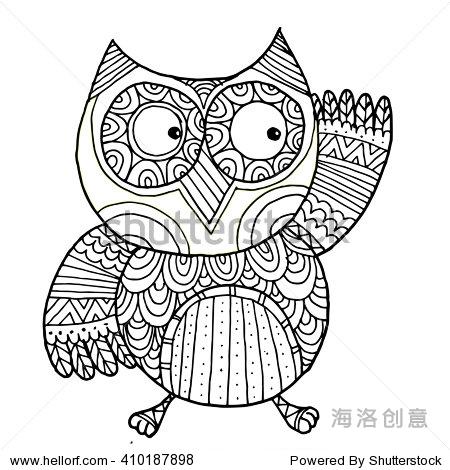 手绘黑白色插图猫头鹰飞的鸟.艺术彩色书猫头鹰向量