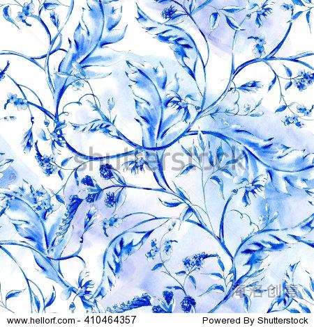 蓝色水彩花卉的无缝模式用树枝和树叶,自然花墙纸,摆设,旋度说明,钴