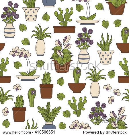 无缝的背景与卡通手绘室内植物主题对象