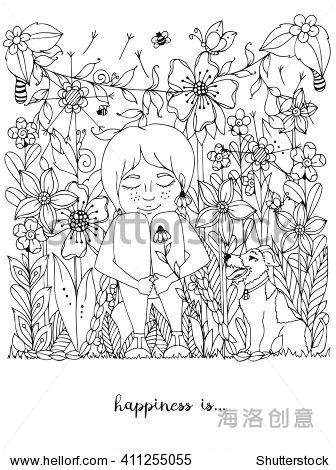 手绘草坪平面图黑白