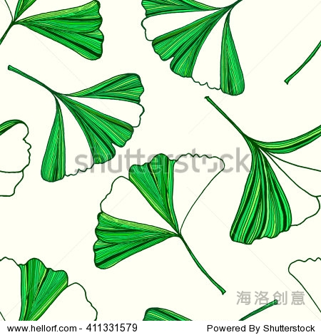 向量无缝模式与手绘银杏树叶.在绿色和米色背景颜色.