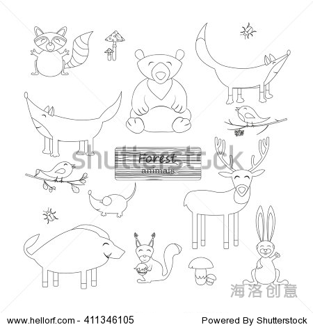 森林动物卡通风格的白色背景.野生动物集合.轮廓图.矢量图