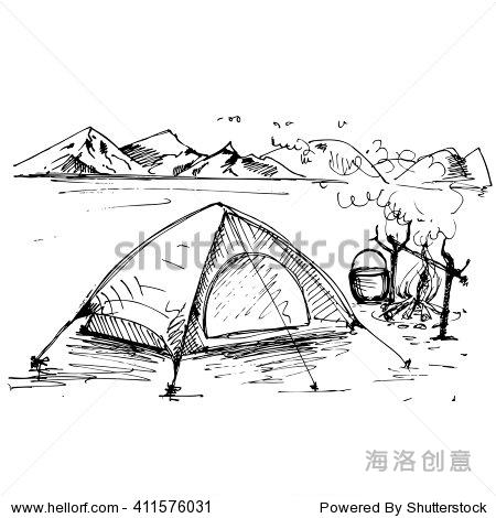 手绘景观帐篷和山脉.草图.向量eps 10