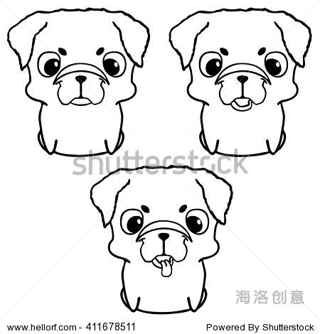 哈巴狗的小狗.手绘矢量插图孤立在白色的.可爱的狗卡通风格.