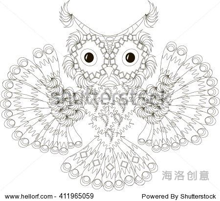 zentangle程式化的猫头鹰飞黑白手绘,矢量插图