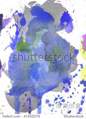 蓝色抽象水彩画的背景