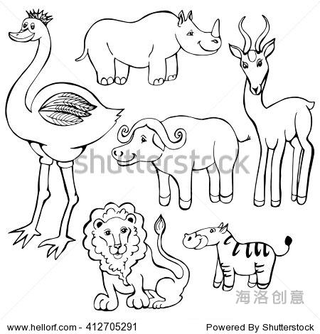 非洲动物手绘插图集涂鸦鸵鸟,犀牛,狮子,羚羊,斑马,公牛