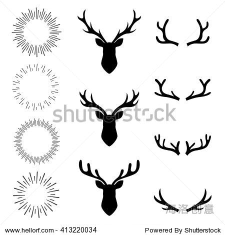 收藏集鹿头和阳光,元素集,矢量插图,平面设计,手绘元素