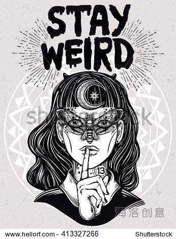 手绘女巫的女孩的美丽portriat蝴蝶面具,奇怪的文字鼓舞人心的名言.