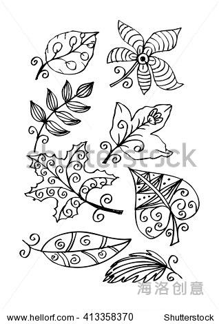 叶子手绘涂鸦集-背景/素材,自然-海洛创意正版图片