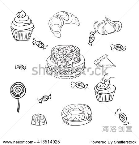 可爱食物甜点照片简笔画