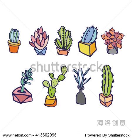 可爱的手绘的彩色矢量在盆仙人掌和肉质植物.孤立的植物锅.矢量插图.
