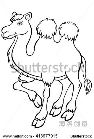 动物.可爱的骆驼站和微笑.