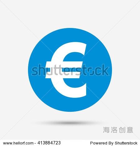 欧元符号图标 欧元货币符号 钱标签 蓝色圆按钮图标 向量 符号 标志 站图片