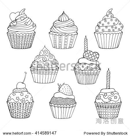杯子蛋糕,蛋糕装饰与心恒星和生日蜡烛,成人着色页的书