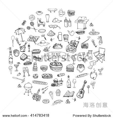 手绘涂鸦野餐图标矢量插图烧烤粗略的符号集合卡通夏季野餐烧烤概念