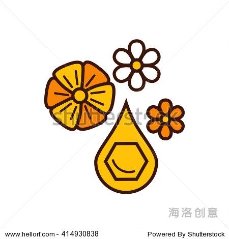 蜂蜜产品图标设计的矢量插图