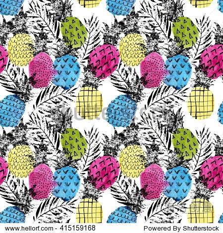 色彩斑斓的菠萝和水彩和枯燥乏味的纹理的无缝模式.