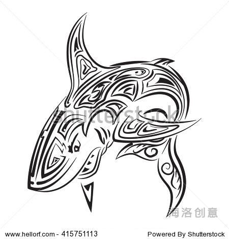 大攻击性鲨鱼,手绘zentangle阶梯.-动物/野生生物,-,.