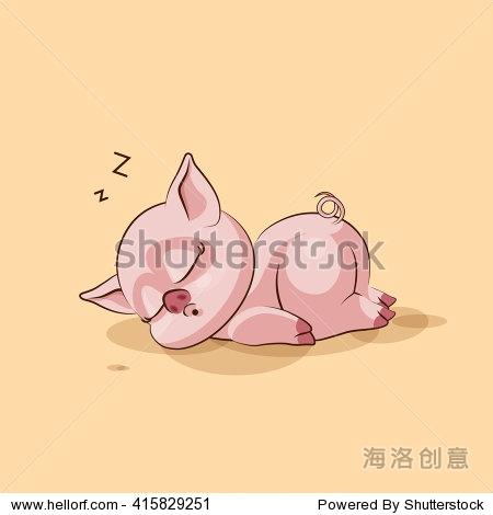 表情萝卜卡通孤立Emoji人物插图猪睡在胃贴纸向量图剁股票包图片