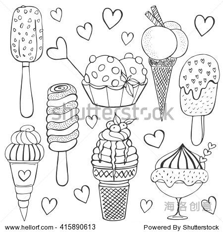 简笔画冰淇淋-Ice cream doodle set. Vector sketch illustration. Collection of