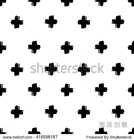 黑白手绘打印.潮人黑白纹理与十字架或优点.时尚图形设计.